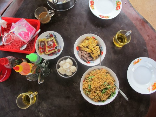 Selection of traditional Cambodian homestay homecooked meals