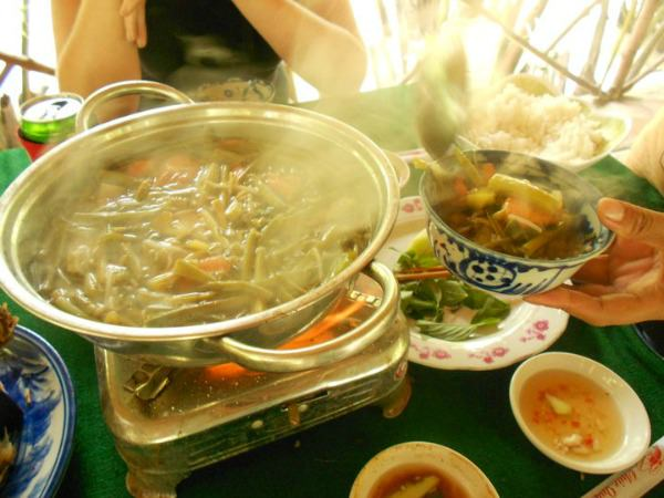 Local Vietnamese home-cooked food in a homestay