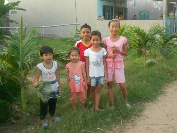 Group of Vietnamese children on the Mekong Delta