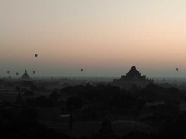 hot air balloons over temples
