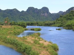 Phong Nha-Ke river and mountains