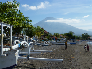 Boats on the beach on Amed, Balli