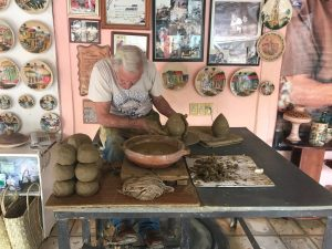 Local pottery making class in Trinidad