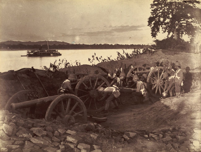 British soldiers dismantling cannons during the Anglo-Burmese war