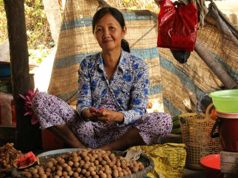 A Vietnamese lady at the market on the Mekong