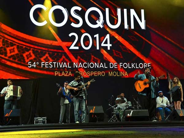 The Cosquin Folk Festival in Argentina - with a band playing