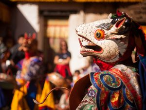 Local wearing traditional mask at the Tsechu Festival in Bhutan