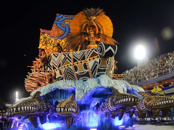 Rio Carnival in Brazil, with a large colourful Float