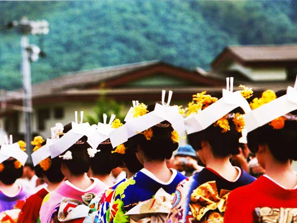 Traditional Japanese Gion Festival, with ladies in classic Japanese dress