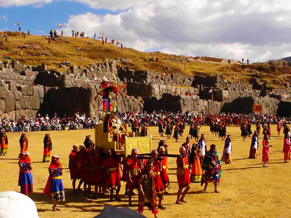 Many locals in traditional clothing during the sun festival at the ruins near Cusco