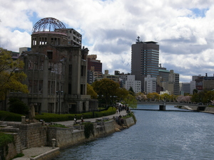Hiroshima Atomic Bomb Dome and a view across the river of other city buildings