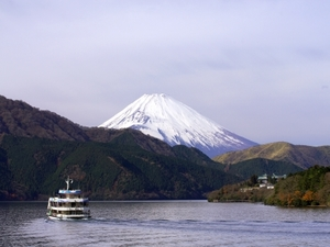 sight seeing ship on Hakone lake with Fuji mountain background