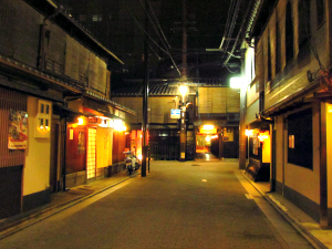 Traditional wooden houses at night