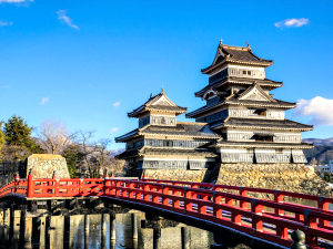 Traditional Japanese castle with blue sky