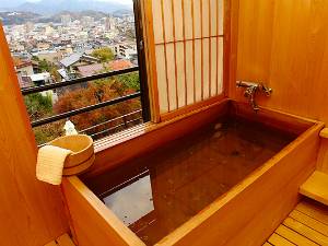 Cedar wood bath with view of Takayama