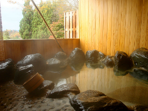 Onsen bath with rocks