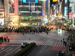 Busy street crossing in the middle of Tokyo city
