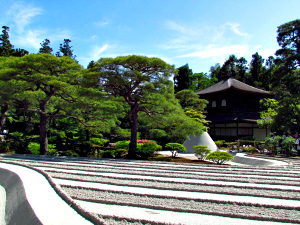 Temple in a zen garden amongst trees