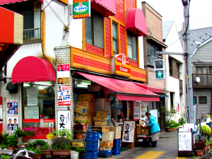 Small, colourful shop in Tokyo city