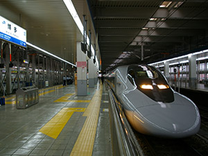 japanese bullet train in the station