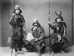 Japanese samurai warriors from the 19th century