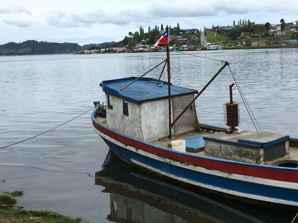 Boat on water in Chiloe, Chile