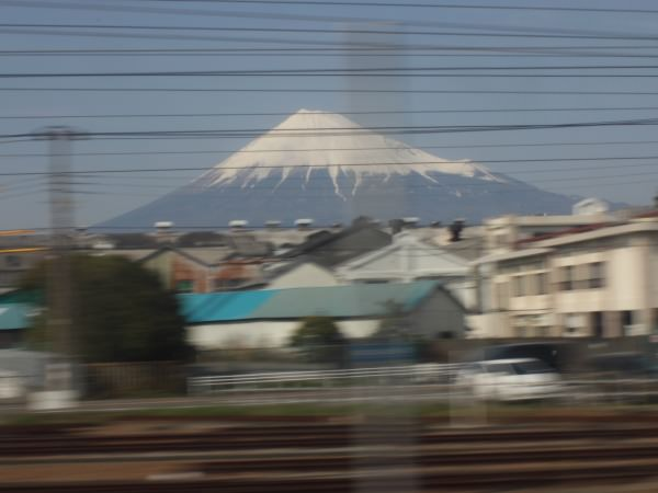 Mount Fuji from train window in Japan