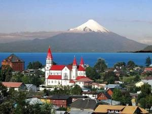 church snow-capped volcano Osorno
