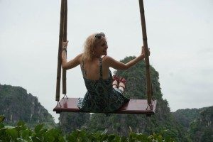 woman on swing in ninh binh vietnam