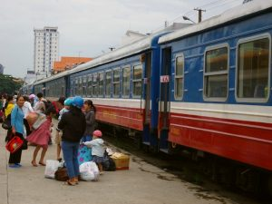 Train on platform in Mui Ne Vietnam