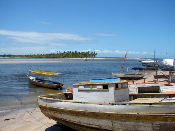 Boats on the beach in Boipeba Bahia Brazil