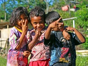 Children in a village in Flores