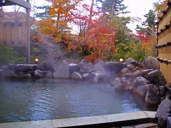 view of a hot spring steaming