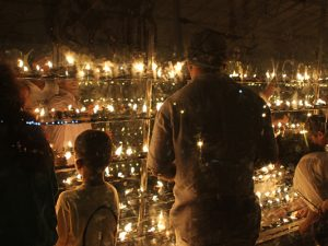 Candles in a temple in Sri Lanka