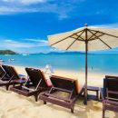 Sun beds on the beach koh samui thailand