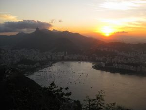 Sunset over Rio in Brazil