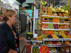 Women in food market in Lima Peru