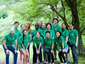 Local partner group in green tops Japan
