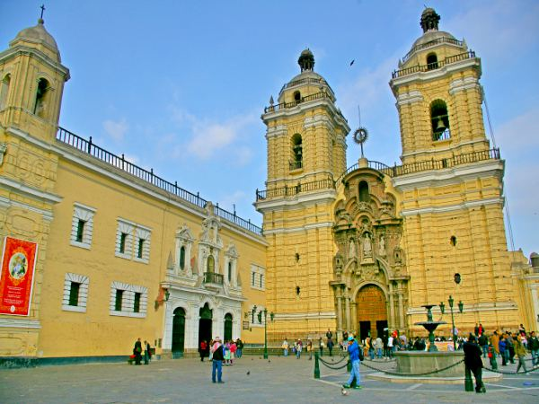 Yellow Catholic church in Lima Peru