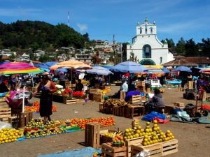 Colourful food market in Mexico