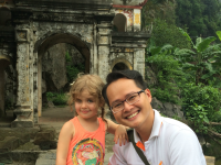 Young girl and local guide in Vietnam