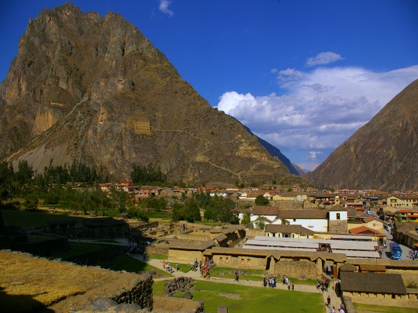 View of Ollantaytambo city in Peru