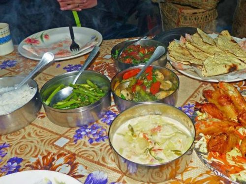 Local food in tent accommodation in Bhutan