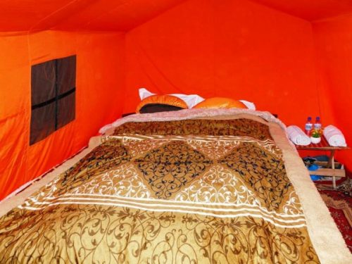 Inside of tent accommodation on Bhutan trek