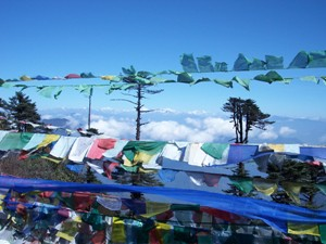 Colourful prayer flags in Bhutan