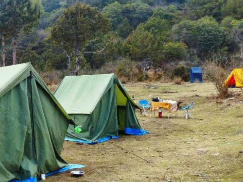 Tents and communal area on trek in Bhutan