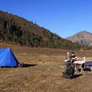 Customers sitting outside their tent in Bhutan