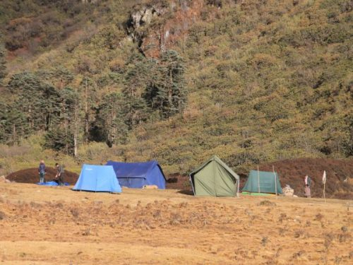 Tents pitched on drek trek in Bhutan