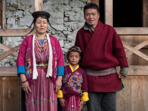 Brokpa tribe in traditional dress in Bhutan