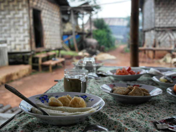 Traditional food in a local Burmese home